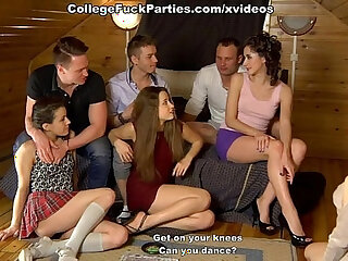 Party-goers wind up fucking each other in front of the camera
