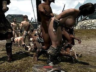 Skyrim-set group porno video with hotties