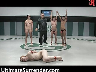 girls wrestling naked! Live audience!