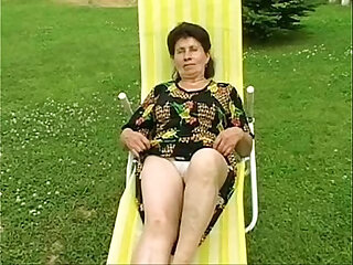 Granny Marie gets fucked hard by the pool