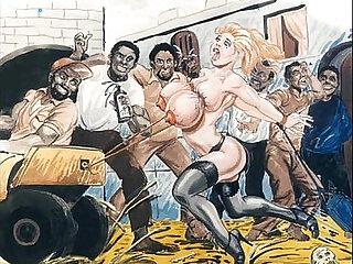 Slaves in bondage bdsm cartoon art