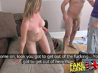 FakeAgentUK Angry husband interrupts agent fucking dirty hairy pussy