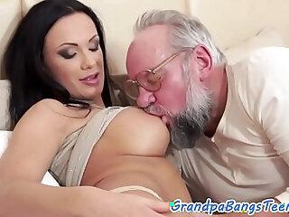 Teen beauty pleasured by lucky grandpa