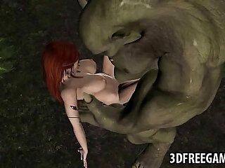 3D elf babe is getting fucked hard outdoors by an orc