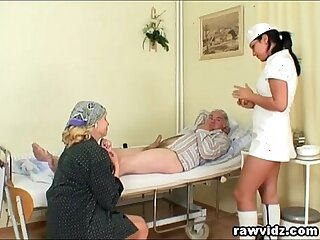 Naughty Hot Nurse Helps Old Patient To Get Laid