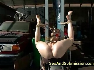 Busty blonde ass and cunt fucked in bdsm