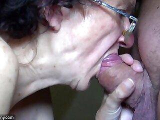 OldNanny Mom and Teen babe masturbating and sucking dick boyfriend