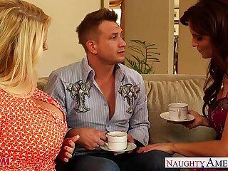 Superb moms Karen Fisher and Syren De Mer share big cock