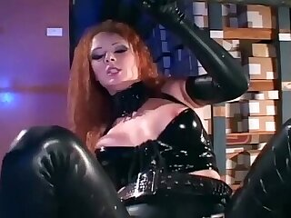Uniformed babe in latex and high heels fucking