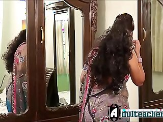 Indian hot teacher in pink bra and sari seducing young boy