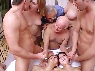 Crazy session with grandpa in a dirty and perverse family!