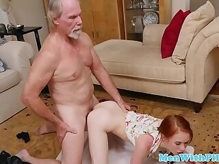 Pigtailed gets banged by oldman