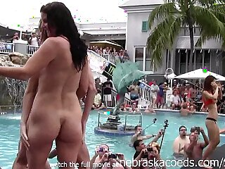 girls pussy and getting naked at wild pool party