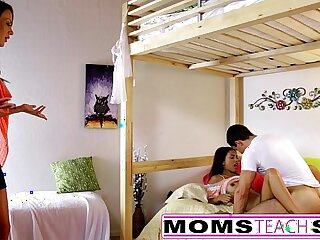 MomsTeachSex Mom And Daughter Play With Dad Gone