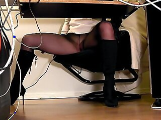 Secretaries under the desk hidden cam masturbation