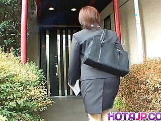 Yukino in uniform gives a nice blowjob to mailman and gets cum on mouth