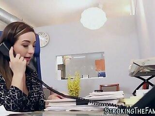 Teen stepdaughter office