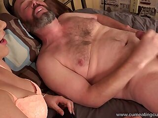 Cum Eating Cuckolds Kimber Woods fucks in front of her cuckold