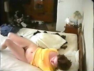 My kinky mom caught masturbating on bed by hidden cam
