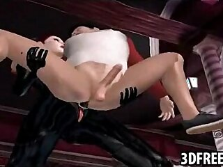 This guy gets team fucked by two hot babe in 3D leather suits