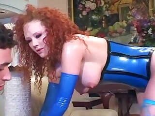 Audrey fucking in stockings and latex