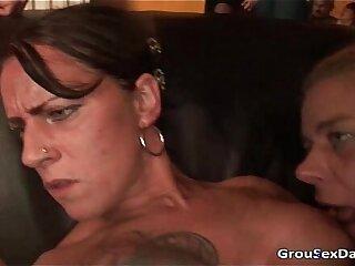 Amazing gang bang two horny sluts